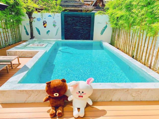 VS【Line 布朗熊】超时尚三卧海盐泳池别墅 Mondern Korean Style villa