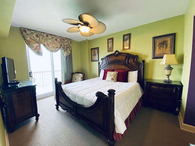 Feel like royalty in our elegant master bedroom with balcony access and a private master bathroom suite!