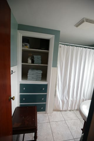 Full bathroom with shower,  tub,  sink,  linen shelves, and toilet.