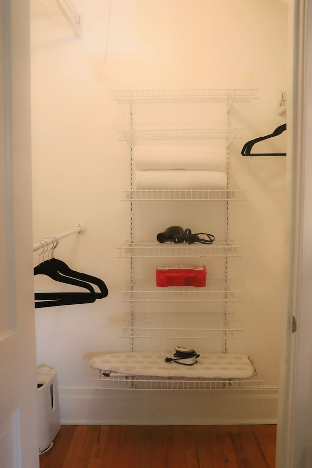 Your very spacious cupboard holds two fresh, soft private towels, a hairdryer, emergency supply box, fire extinguisher, humidifier, iron and ironing board and enough space to spread out all your belongings.