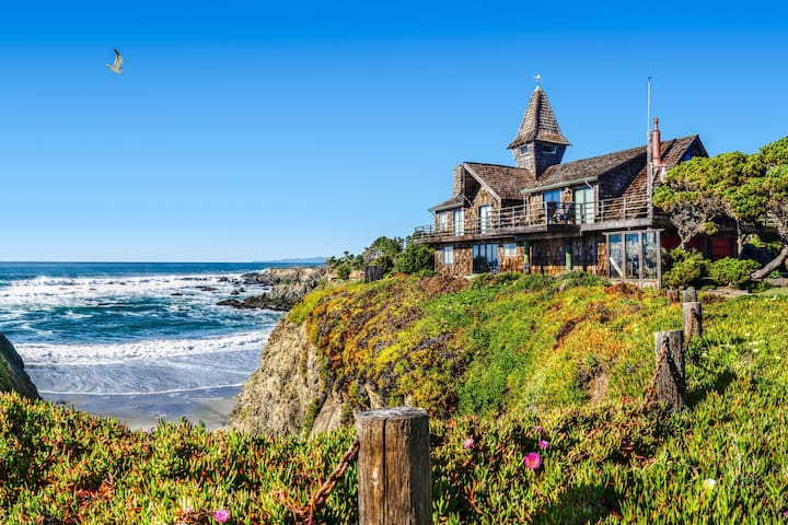Oceanfront home w/private hot tub, views from deck, up to 4 dogs welcome!