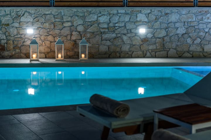 Private pool night view