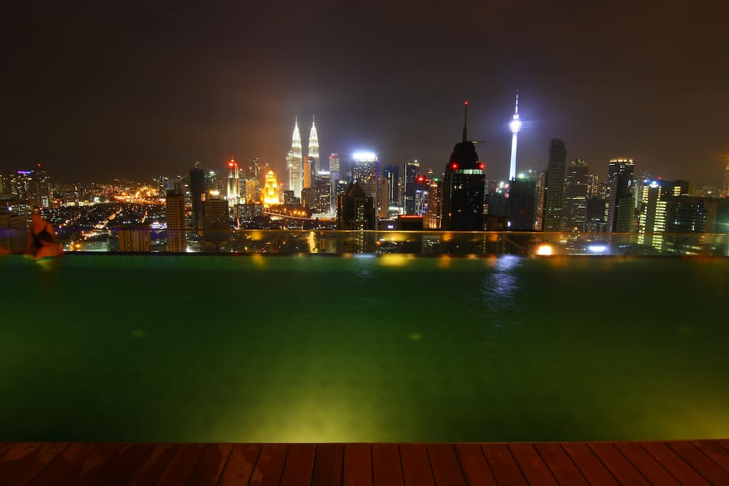 KL City view from the roof top infinity pool