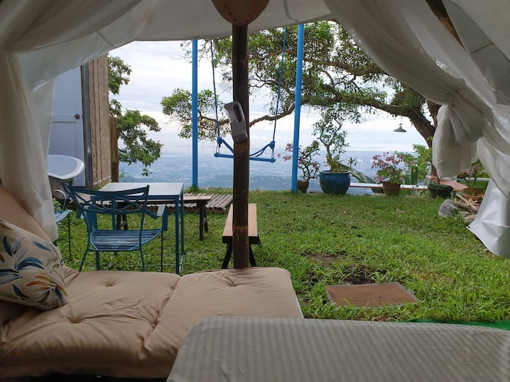 Cabanas luxury butlered glampsite. Tub with a view