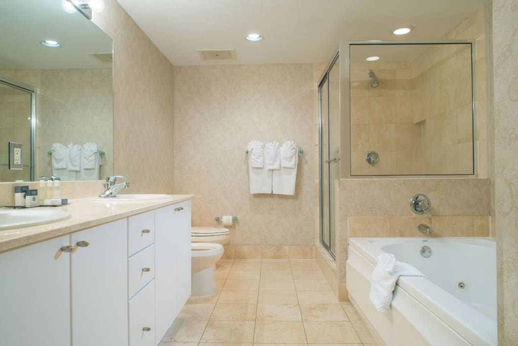 Full Bathroom with Jetted Tub and Shower