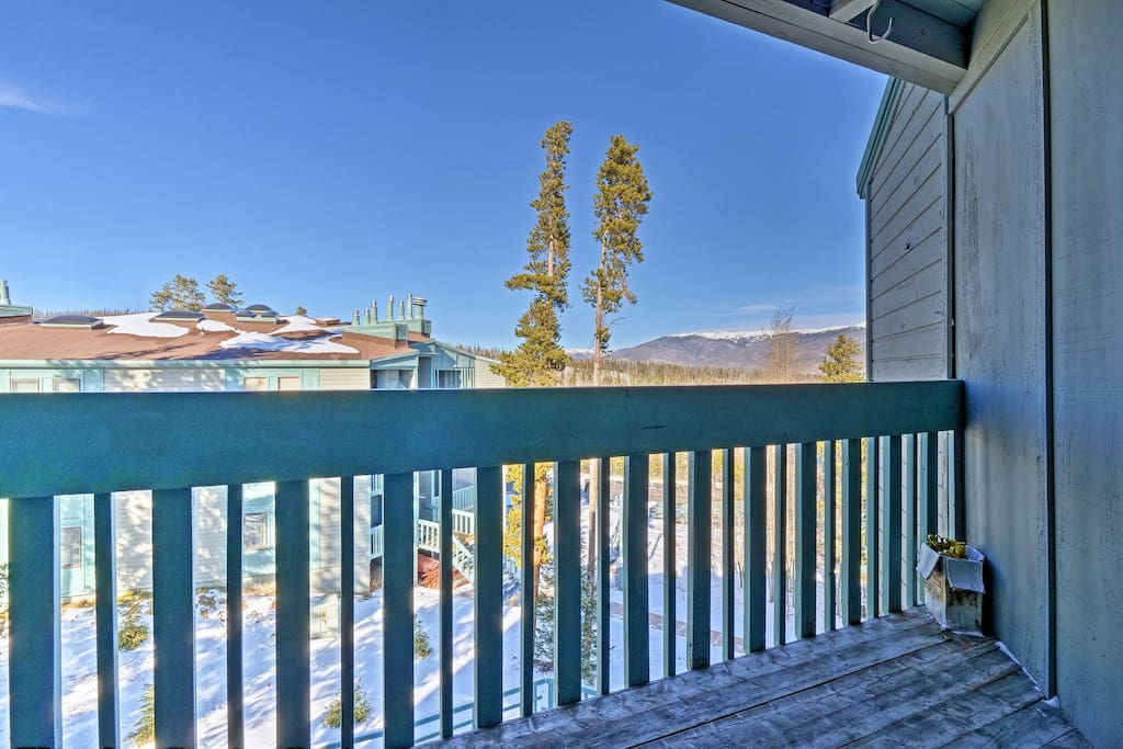 Look out to mountain views from the private balcony!