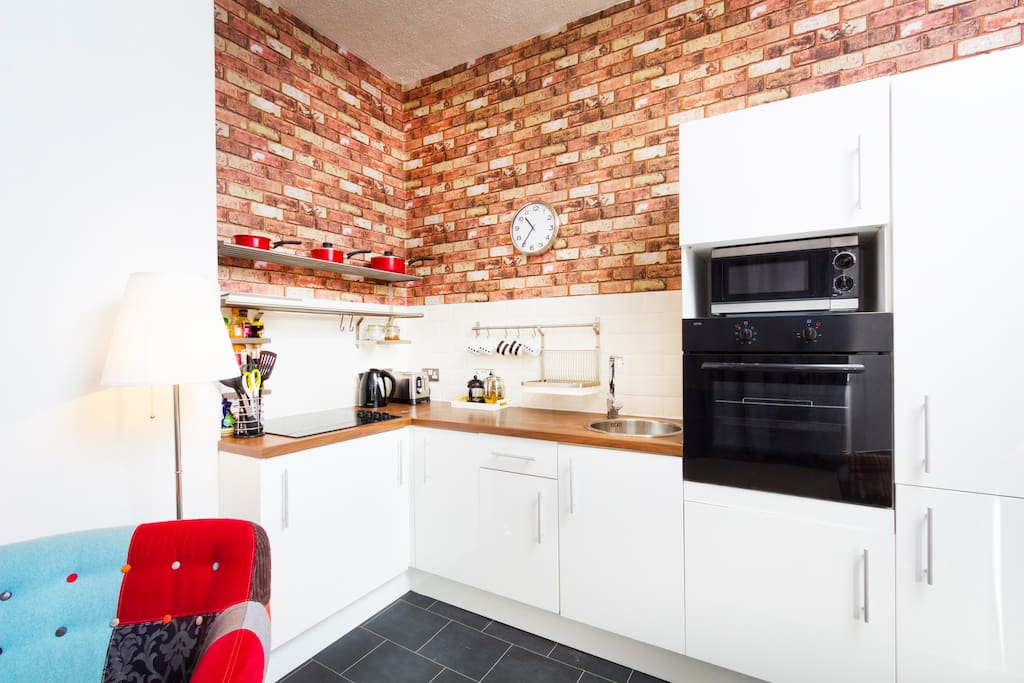 Recently modernised kitchen, with integrated oven, fridge freezer, microwave & washing machine