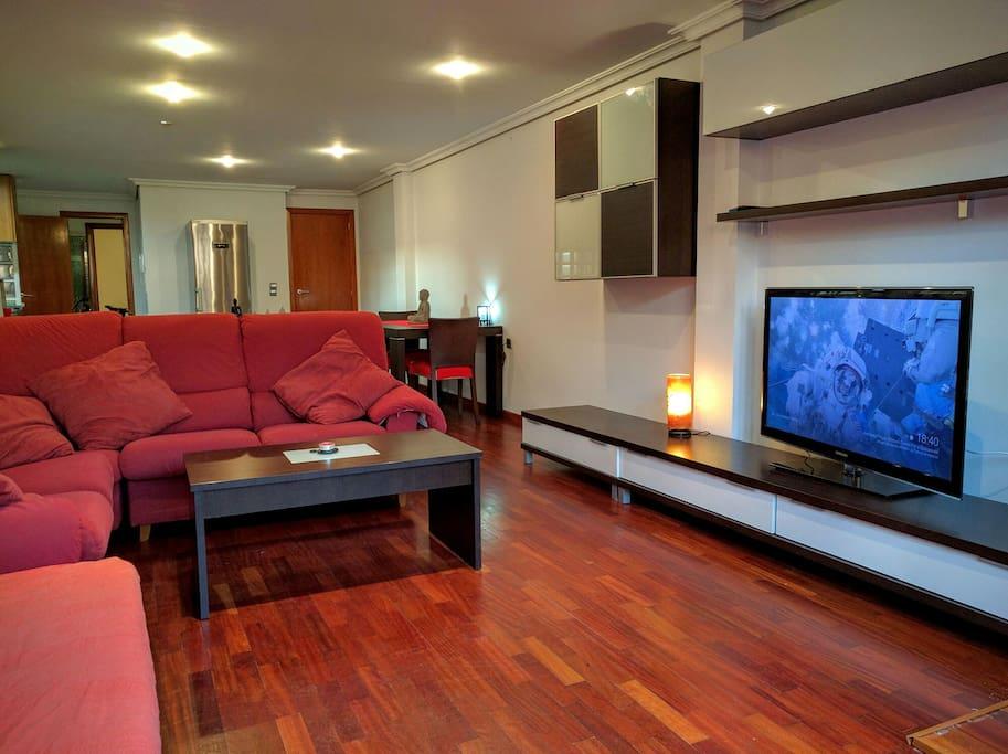 Salon - Sala de estar. Comodo y amplio sofa.