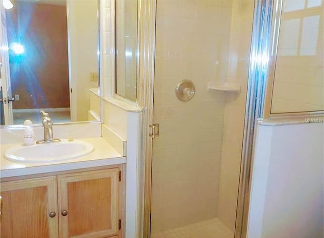 Private Guest Bedroom with Vanity, Sink, and Shower Room.