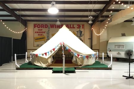 Yurt #7 inside Lone Star Glamp Inn - Round Top