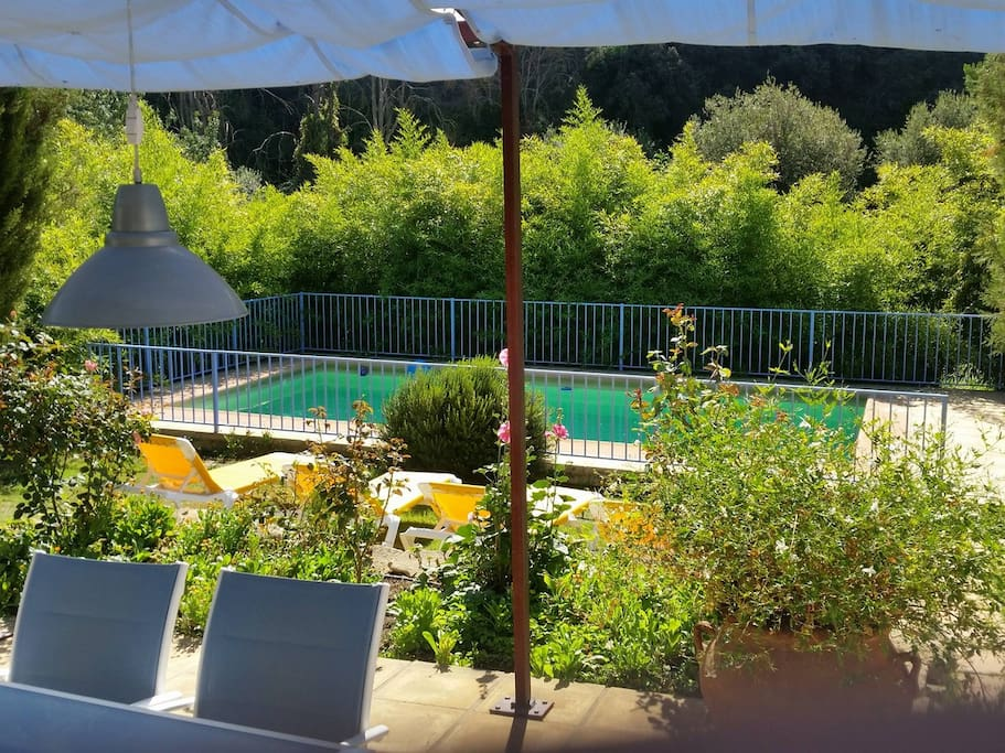 garden with sun loungers and private, safely fenced, swimming pool