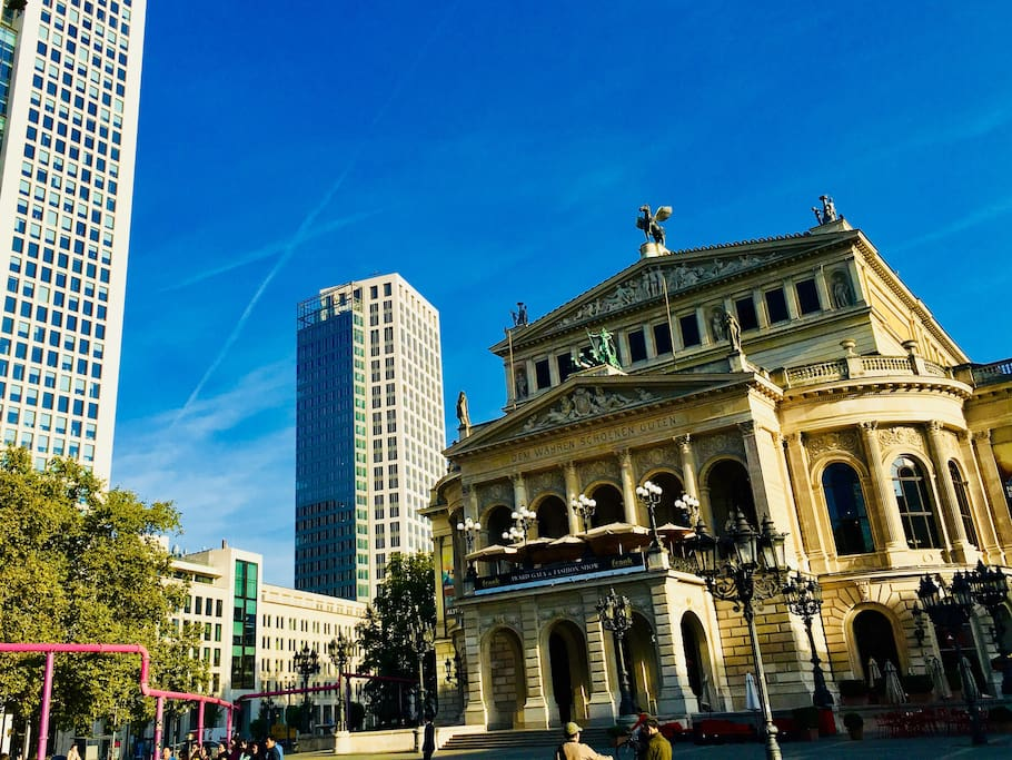 The famous Opera Square with the iconic Alte Oper und Opernturm buildings are just down the street.