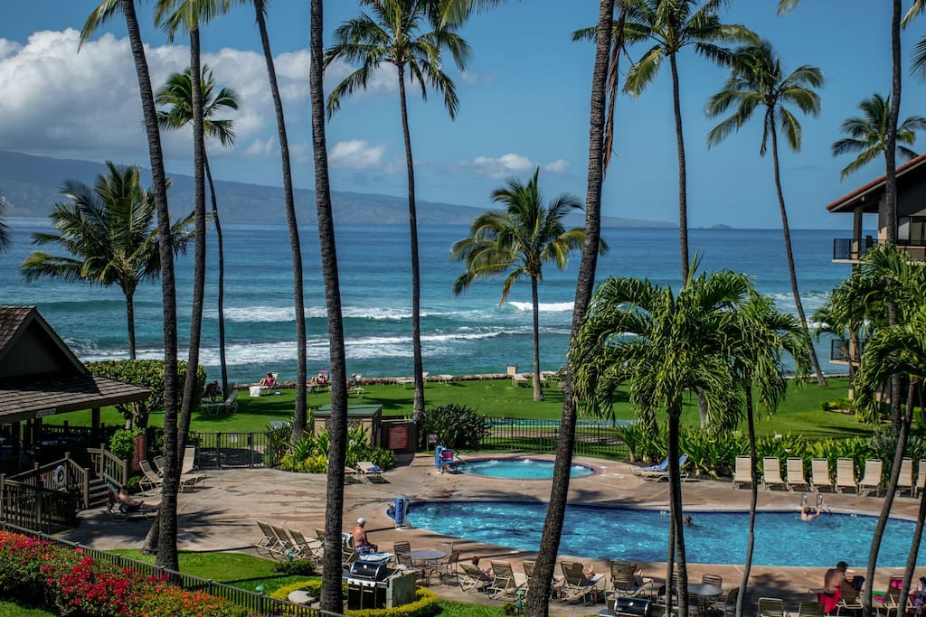 Beautiful ocean front grounds with views of Molokai and the Pacific