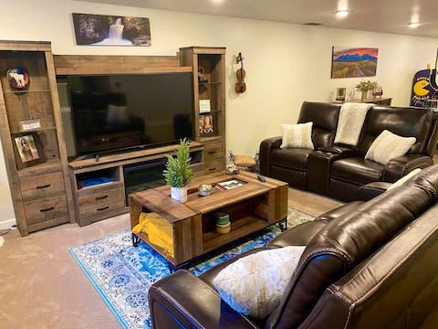 Entire Rustic Basement w/ BR Bath and Living Area.