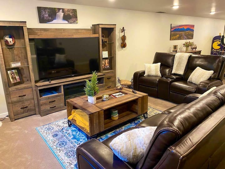 Rustic Basement with Bedroom, Bath and Living Area