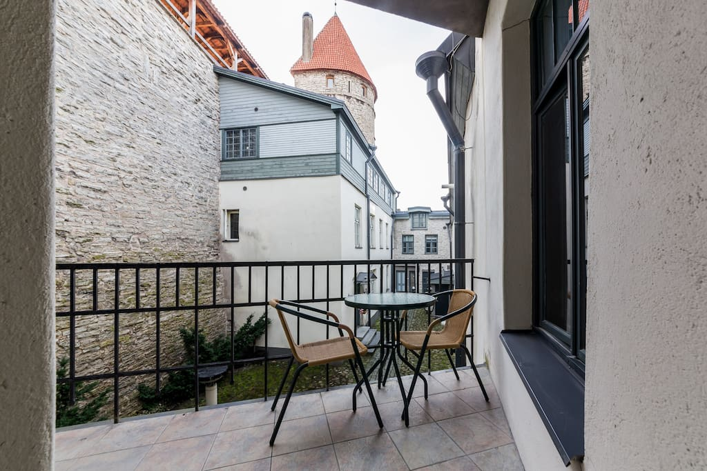 Terrace with a magnificent view to the medieval tower