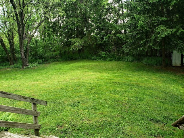 The secluded backyard has plenty of room for kids to play.