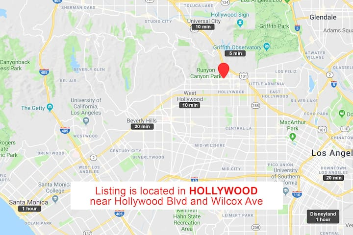 ⚠ Please note Airbnb map is set to display general area only. This picture displays exact listing location & driving   distance to famous destinations.