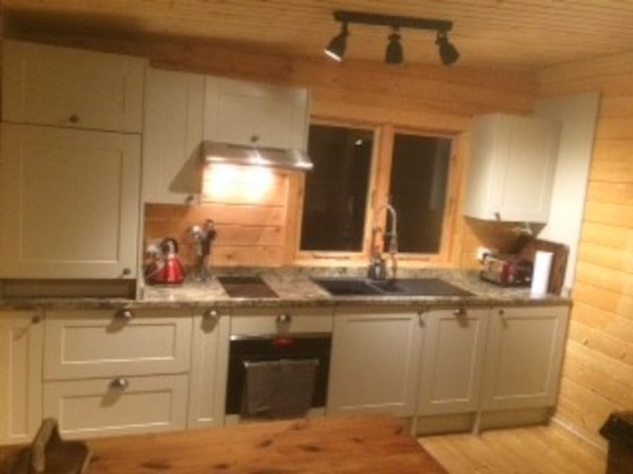 Kitchen area, includes  combi oven/microwave, dishwasher and washing machine.