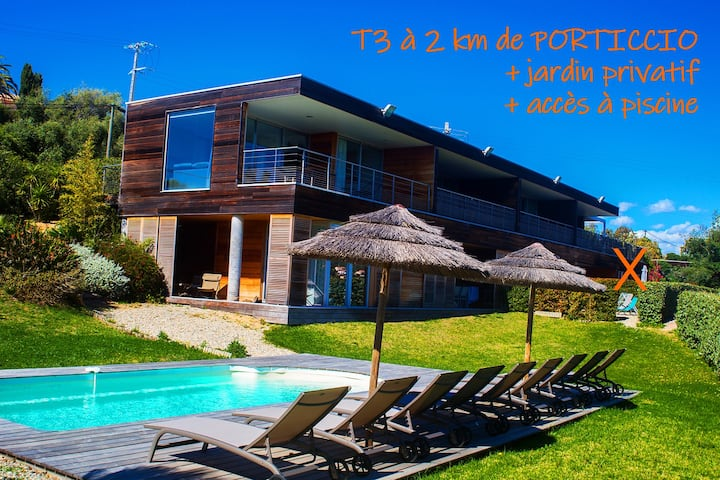 Porticcio T3 moderne avec jardin privé et piscine