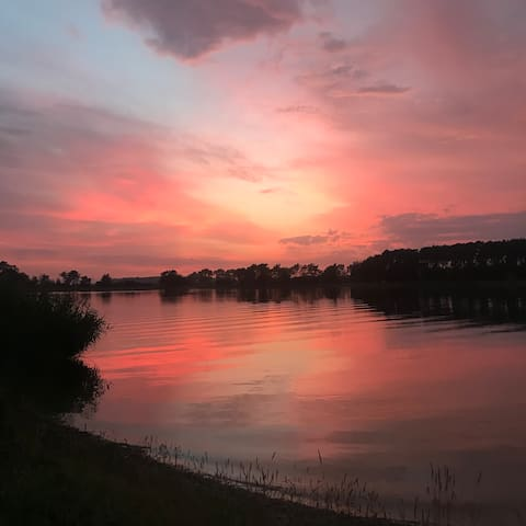 Enjoy a picnic anywhere around the lake and stare at such a beautiful sunset...