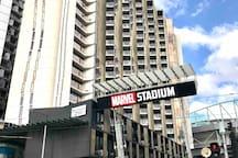 Apartment complex right next to Marvel Stadium.
