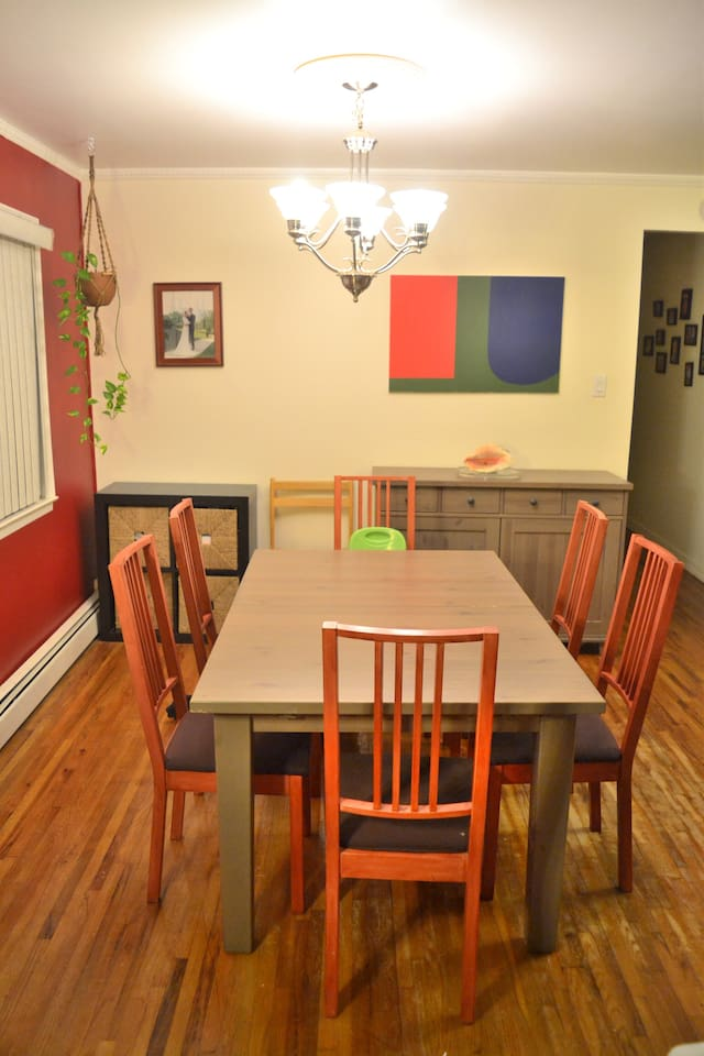 Dining room table for six.  Booster seat