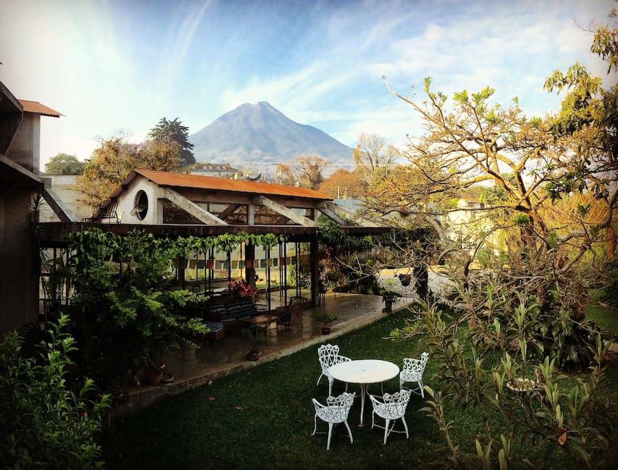 Volcano Views! We have them.  Overlooking the central courtyard/gardens