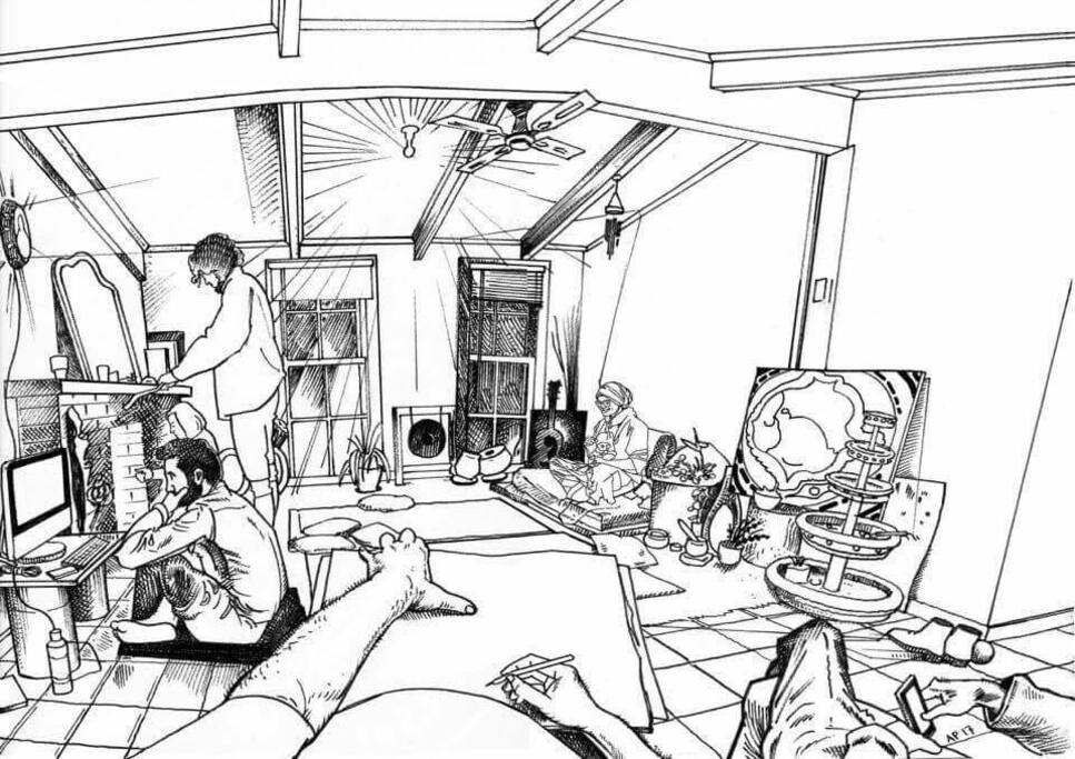 aladdin's cave - illustrated by anton pulvirenti while chillaxing in aladdin's cave with (left-to-right) david, sandra, tom, anton, angela, and mystery mobile phone-holding person...