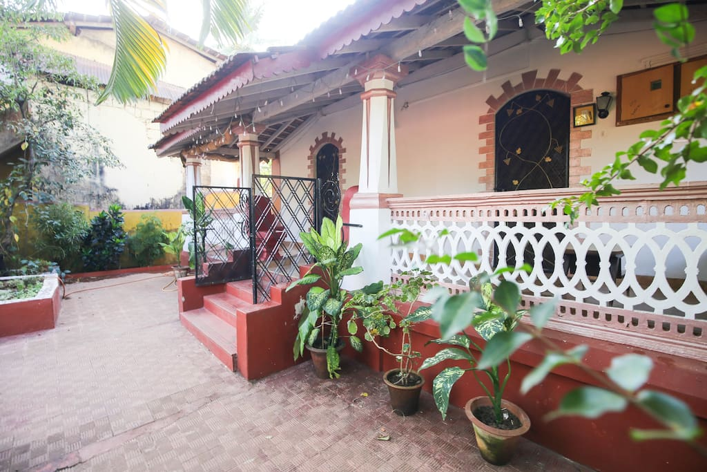 Main Entrance with a Balcony and garden