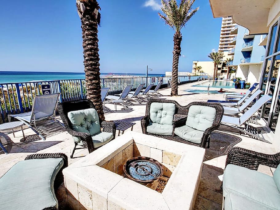 Lounge by the firepit on the gulf