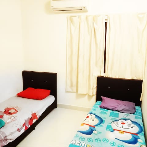 Fully Furnished-Bedroom with 2 single bed