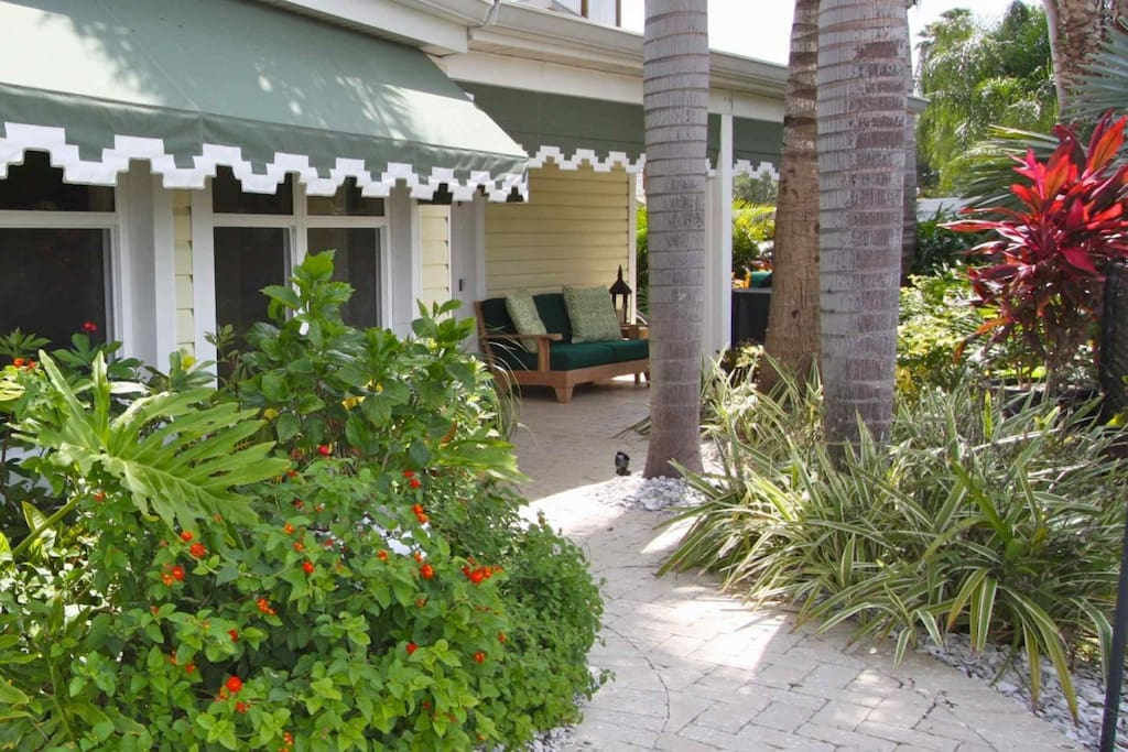 Tropical landscaping and lounge area