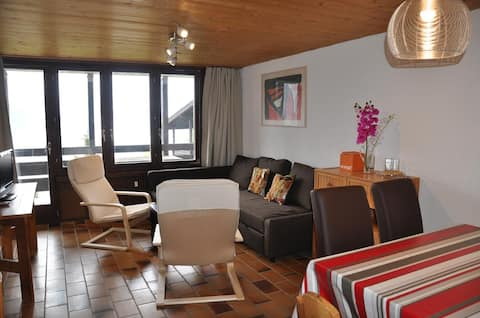 2 rooms apartment for 6 people, near the ski slopes, beautiful view