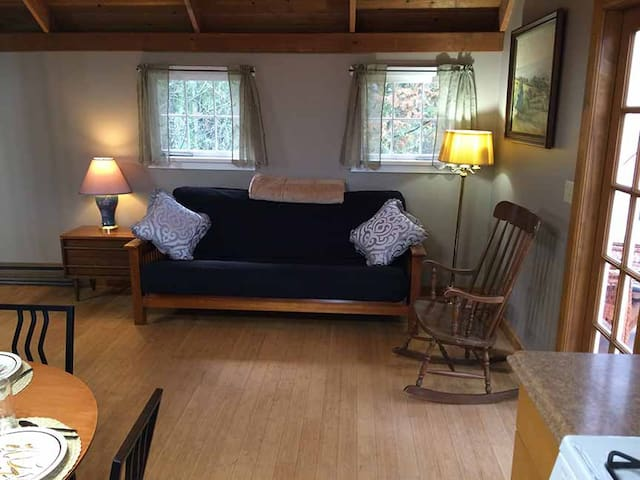 Full size futon couch provides an additional bed. French doors open onto solarium.