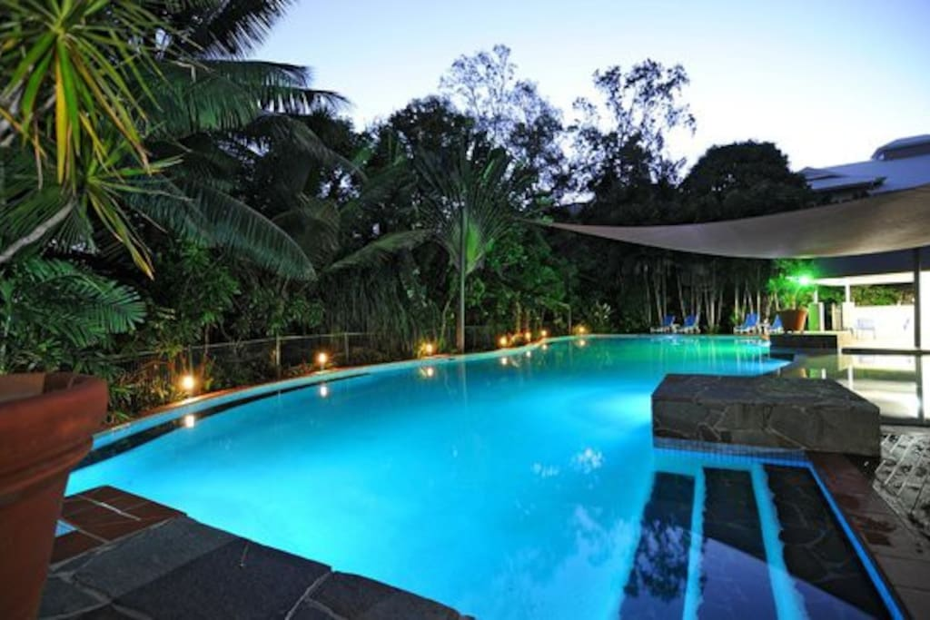 Pool and BBQ Area by Night