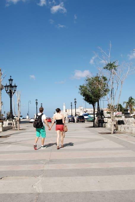 Walking on Prado street
