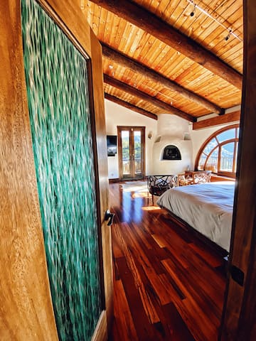 Entrance to our Master Bedroom Suite with incredible Topanga Canyon and Red Rock Mountain Views facing West for beautiful sunsets everyday.