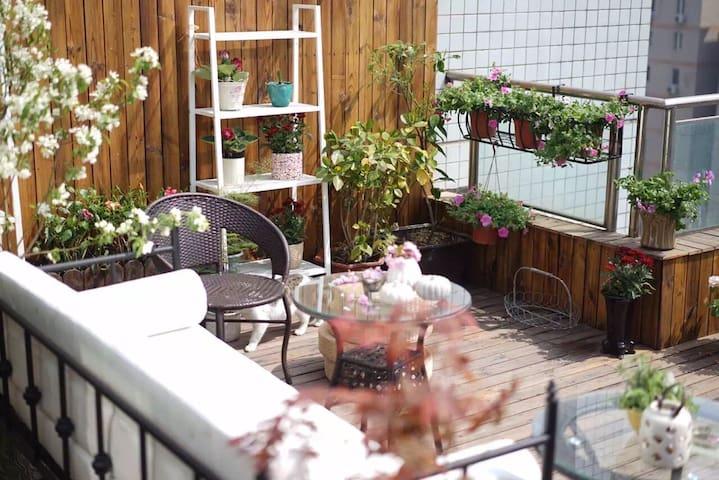 西岱岛猫姐的中关村最美楼顶花园猫窝露台,最佳夜景住在花园里 - Peking - Wohnung