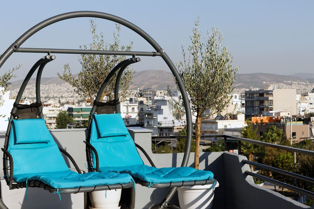 Modern hammock-sunbeds on the terrace