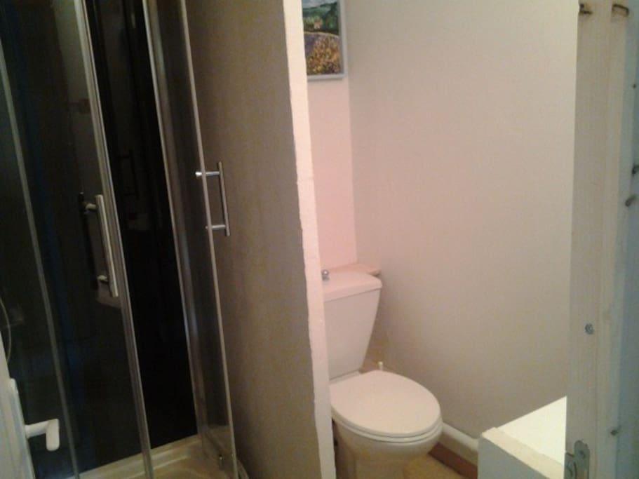 Salle de bains avec cabine de douche, WC et lavabo
