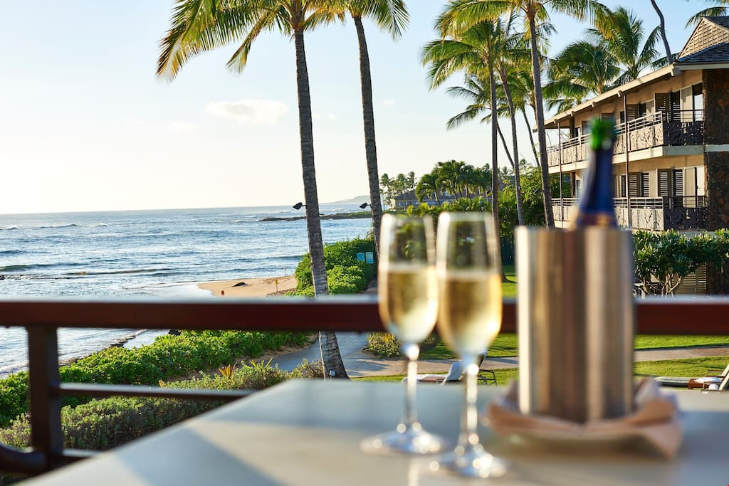Sip your complimentary wine, and look out at the gorgeous ocean.