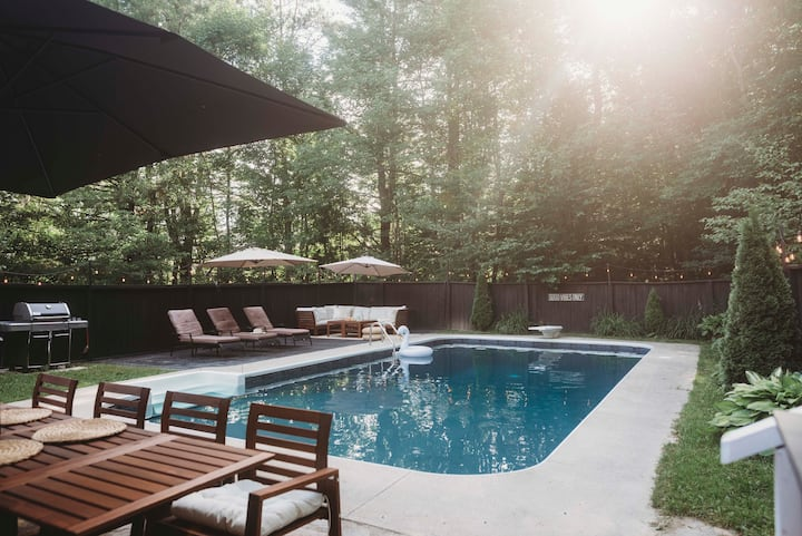 Modern boho oasis home on six acre forest
