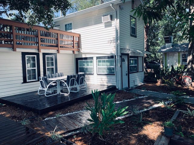 Newly added deck with outdoor seating.  Relax outside and take in the sights of downtown!