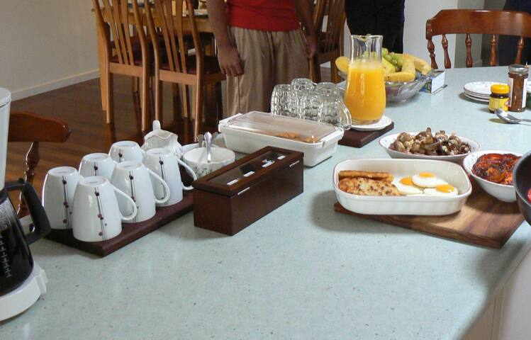 We offer a range of breakfast options (inclusive). Tea and coffee are always available