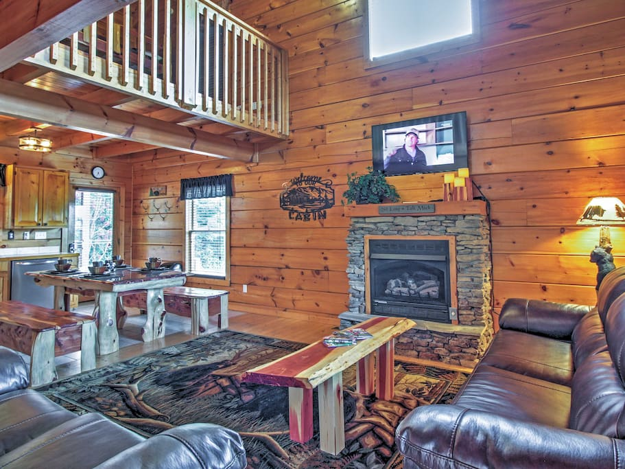 Unwind in the spacious living room to read or watch TV by the fireplace.