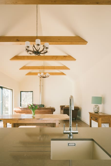 The stunning wooden beams and antler chandelier in the open plan living space in Riverside Lodge.