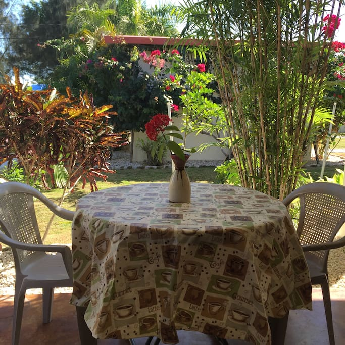 Dine outdoors and hear the tropical birds.