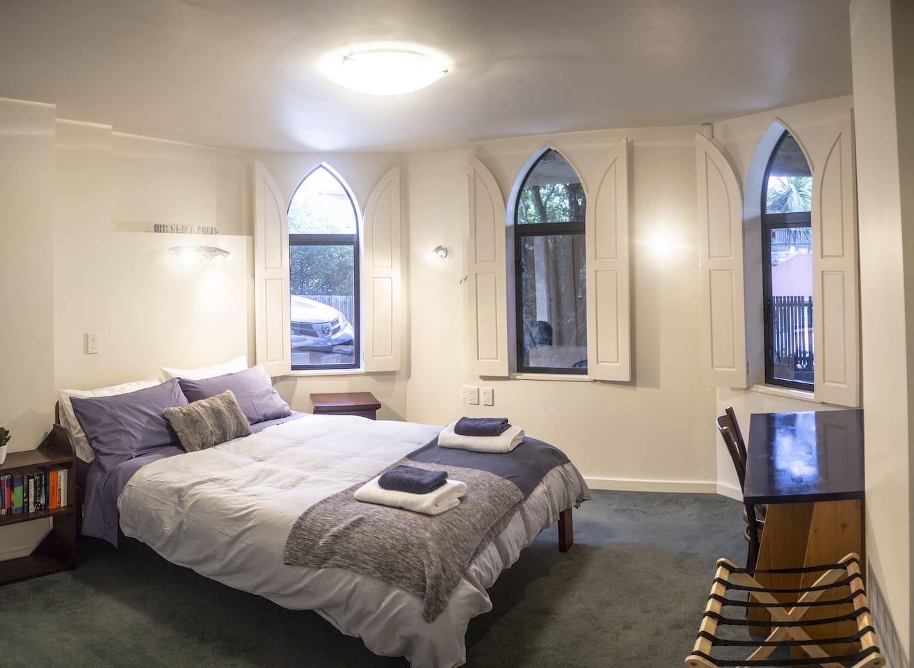 Spacious stylish bedroom