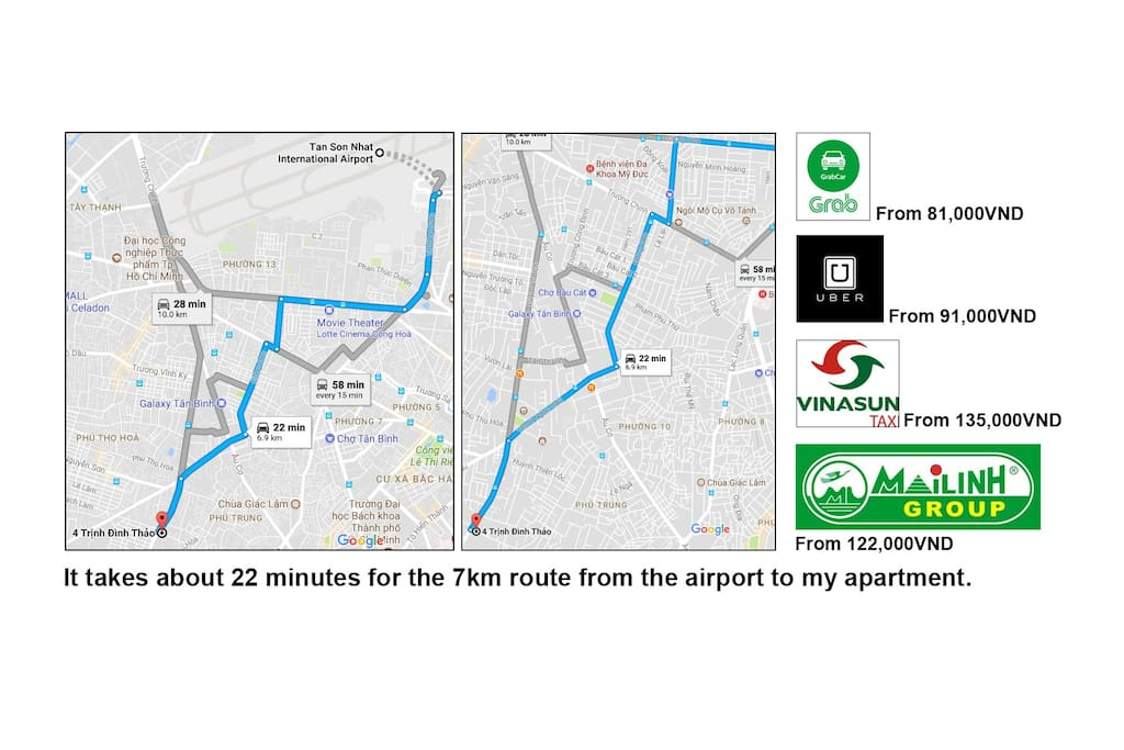 The route from the international airport to my apartment by Grab, Uber or taxi (cab)
